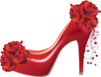 Red rose flowers and shoe isolated on white Stock Images