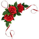 Red rose flowers and silk ribbon corner arrangement Royalty Free Stock Image