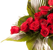 Red Rose Flowers With Sparkle Particles Stock Photography
