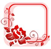 Red rose frame. The pink frame from the red stylized rose with decorative curls Royalty Free Stock Photography