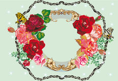 Red rose frame pattern on blue Royalty Free Stock Image