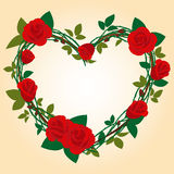 Red rose Frame in the shape of heart Stock Image