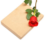 Red rose and gift box Royalty Free Stock Photos