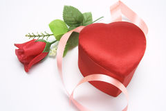 Red Rose and Gift Box Stock Photo