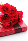 Red rose and gift box Stock Photos