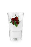 Red rose in glass. Red rose and bubble of water in glass Royalty Free Stock Photography