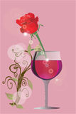 Red rose and glass of wine Royalty Free Stock Photo