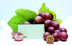 Red rose grapes with blank papers card Royalty Free Stock Images