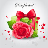 Red rose with a green box-EPS10. Romance banner with a red rose for your text Stock Photos