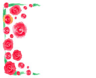 Red rose with green leaf frame water color vector Stock Photography