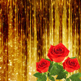 Red rose with green leaves on the gold background Stock Photo