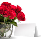 Red rose with a greeting card Stock Images