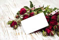 Red rose and greeting card Royalty Free Stock Photography