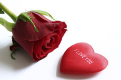 Red rose and heart. With message I love you Stock Photo