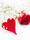 Red rose with heart Royalty Free Stock Photography
