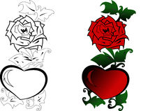 Red rose and heart. Red rose and heart and green leaves.Vector-Illustrator Stock Photography