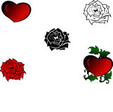 Red rose and heart. Vector-Illustrator Royalty Free Stock Photo