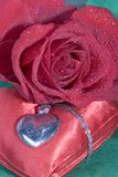 Red rose and heart Royalty Free Stock Image