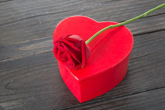 Red rose and heart gift box Stock Images