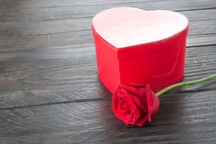 Red rose and heart gift box Stock Photo