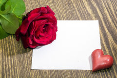 Red rose, heart, love note Royalty Free Stock Photo