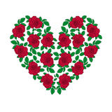 Red rose heart. Red rose in heart shape vector illustration