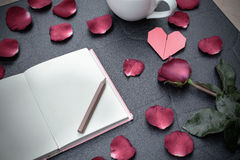 Red rose with heart shape Royalty Free Stock Photos