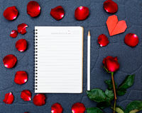 Red rose with heart shape Royalty Free Stock Images