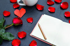 Red rose with heart shape Royalty Free Stock Image