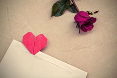 Red rose with heart shape Royalty Free Stock Photo