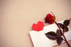 Red rose with heart shape Stock Images