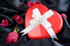 Red Rose and Heart-shaped Gift Box with Ribbon Royalty Free Stock Images