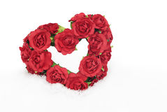 Red Rose Heart In Snow Stock Image