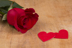 Red  rose and heart symbol Royalty Free Stock Photography