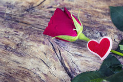 Red Rose and Heart Royalty Free Stock Photography