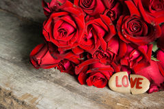 Red rose with heart Royalty Free Stock Images