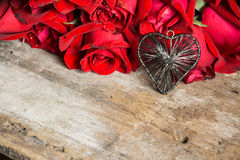 Red rose with heart Stock Photo