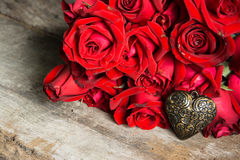 Red rose with heart Royalty Free Stock Image