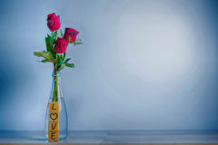 Red rose with heart and wooden alphabet Stock Photo