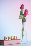 Red rose with heart and wooden alphabet Royalty Free Stock Image