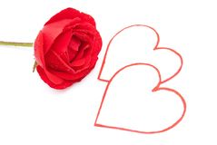 Red rose and hearts Royalty Free Stock Photos