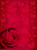 Red rose and hearts Royalty Free Stock Image