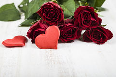 Red rose and hearts Stock Photo