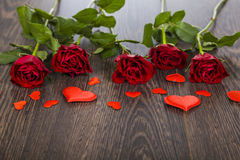 Red rose and hearts Royalty Free Stock Photo