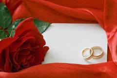 Red rose and invitation card Royalty Free Stock Photo