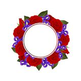 Red Rose and Iris Flower Banner Wreath. isolated on White Background. Vector Illustration.  stock illustration
