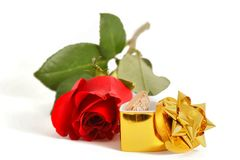 Red rose and jewelry Royalty Free Stock Photos