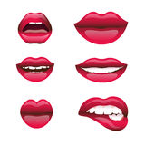 Red and rose kissing and smiling cartoon lips  decorative icons for party presentation illustration Royalty Free Stock Photos