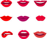 Red and rose kissing and smiling cartoon lips  decorative icons for party presentation vector illustration Royalty Free Stock Image