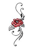 Red rose with leaves. Vector illustration royalty free illustration